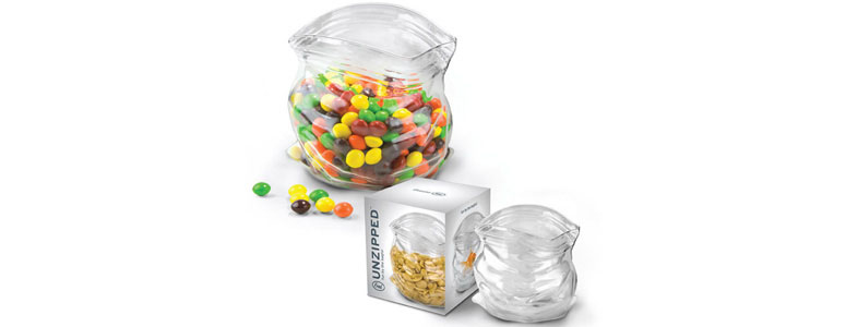 Unzipped Glass Bag - Candy and Nut Bowl