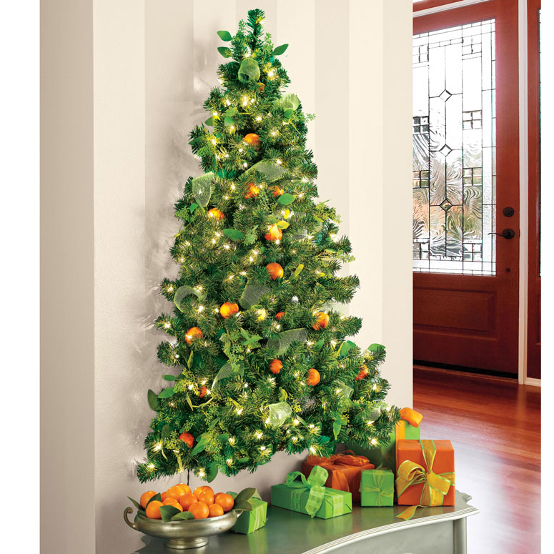 Wall hanging pre lit christmas tree the green head How to hang garland on a christmas tree