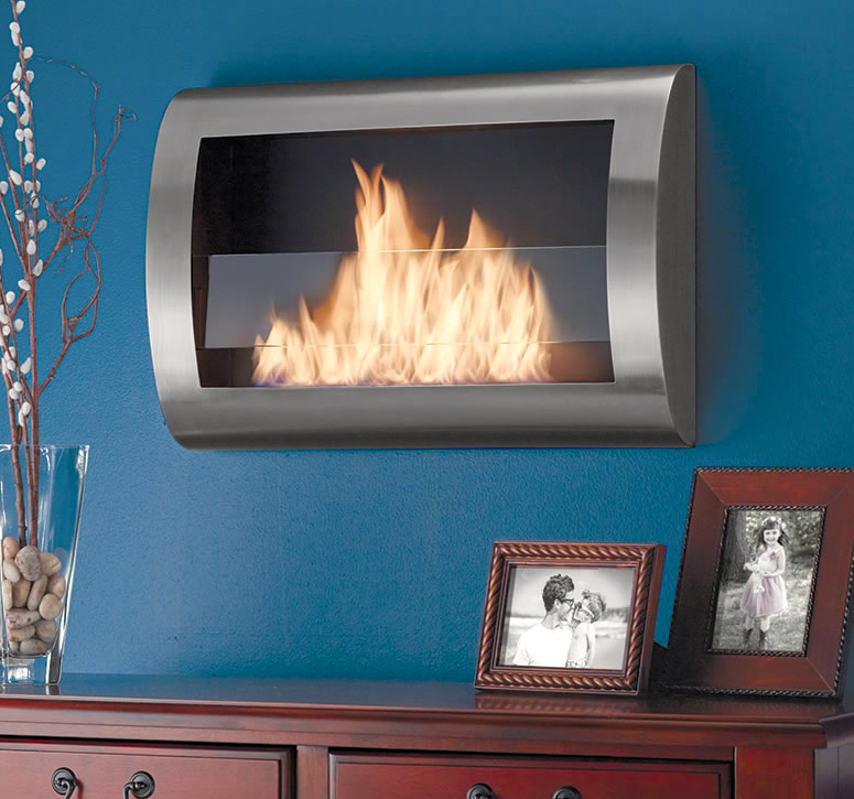 A unique clean-burning stainless steel hearth that mounts to your wall like a television and uses recycled liquid ethanol fuel that gives off only water vapor