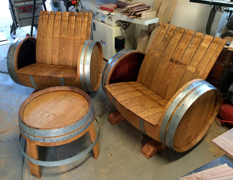 Superbe Wine Barrel Chairs And Table
