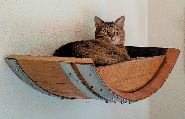 Wine Barrel Wall Hanging Cat Bed