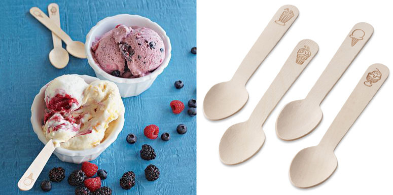 Wooden Ice Cream Spoons and Ceramic Ice Cream Cups