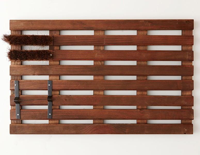 Wooden Slat Doormat With Shoe Scraper And Bristle Brush