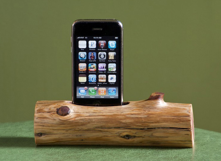 wooden iphone docking station woodtec wooden log iphone ipod station 16526