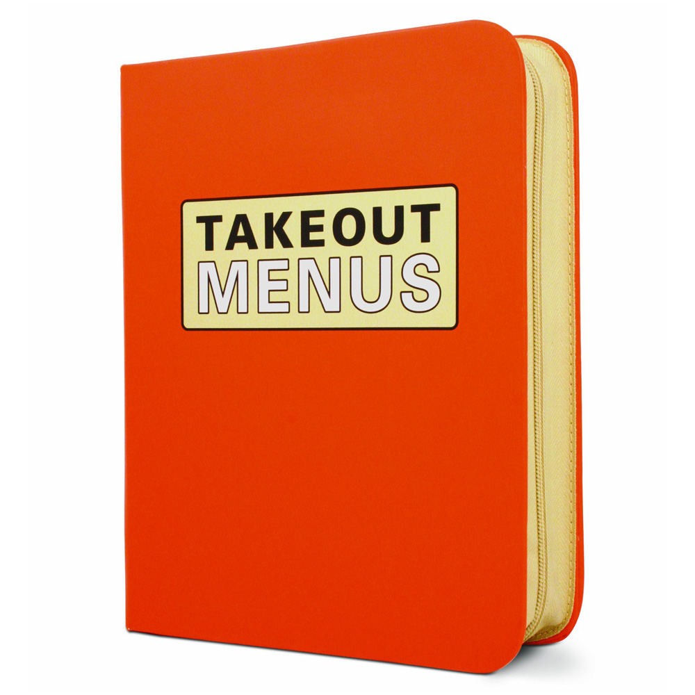 Zippered take out menu organizer the green head for Take out menu
