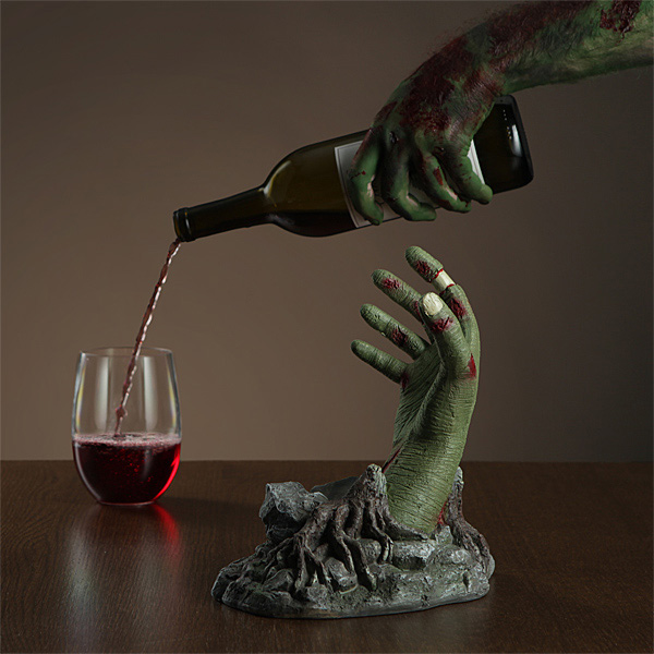 Zombie Hand Wine Bottle Stand The Green Head